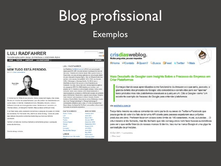 Blog profissional     Exemplos