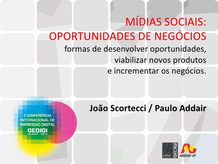 MÍDIAS SOCIAIS:OPORTUNIDADES DE NEGÓCIOS  formas de desenvolver oportunidades,               viabilizar novos produtos    ...