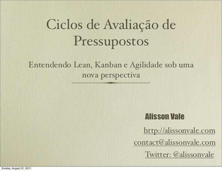 Ciclos de Avaliação de                              Pressupostos                    Entendendo Lean, Kanban e Agilidade so...