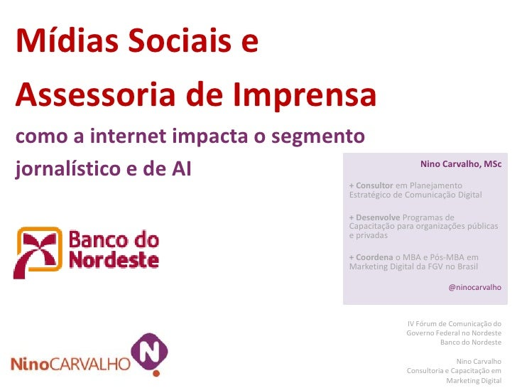 Mídias Sociais eAssessoria de Imprensacomo a internet impacta o segmentojornalístico e de AI                              ...