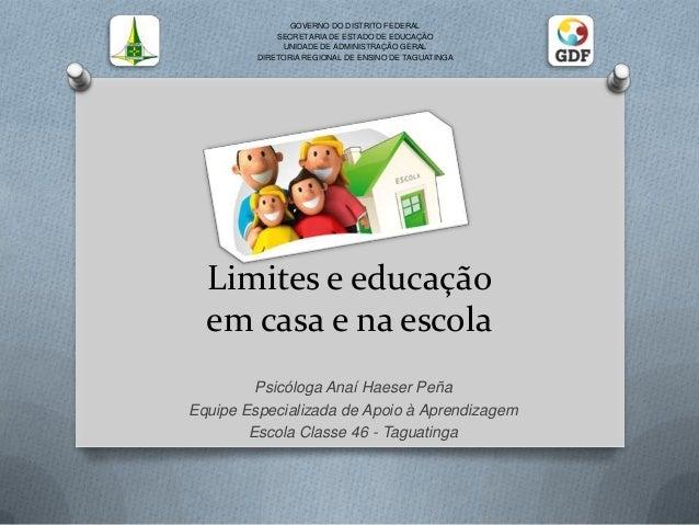 Limites e educação em casa e na escola Psicóloga Anaí Haeser Peña Equipe Especializada de Apoio à Aprendizagem Escola Clas...