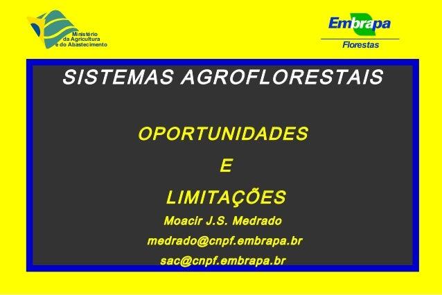 FlorestasSISTEMAS AGROFLORESTAISOPORTUNIDADESELIMITAÇÕESMoacir J.S. Medradomedrado@cnpf.embrapa.brsac@cnpf.embrapa.brMinis...