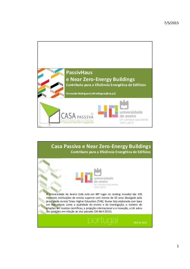 7/5/2015 1 CasaPassivaeNear Zero‐EnergyBuildings ContributoparaaEficiênciaEnergéticadeEdifícios PassivHaus eNe...