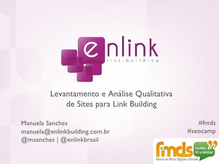 Link Building: Levantamento e Análise Qualitativa de Sites (FMDS / SEOcamp)