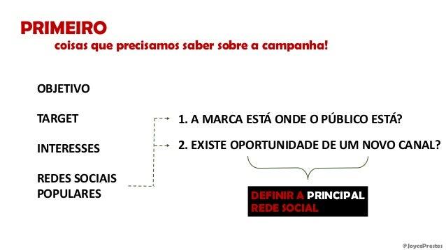 @JoycePrestes PRIMEIRO OBJETIVO TARGET INTERESSES REDES SOCIAIS POPULARES 1. A MARCA ESTÁ ONDE O PÚBLICO ESTÁ? 2. EXISTE O...