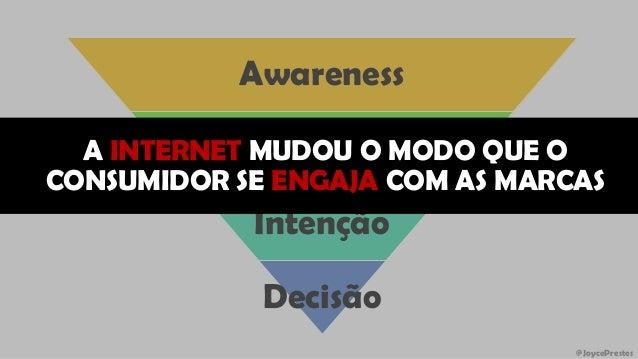 @JoycePrestes Awareness Consideração Intenção Decisão A INTERNET MUDOU O MODO QUE O CONSUMIDOR SE ENGAJA COM AS MARCAS