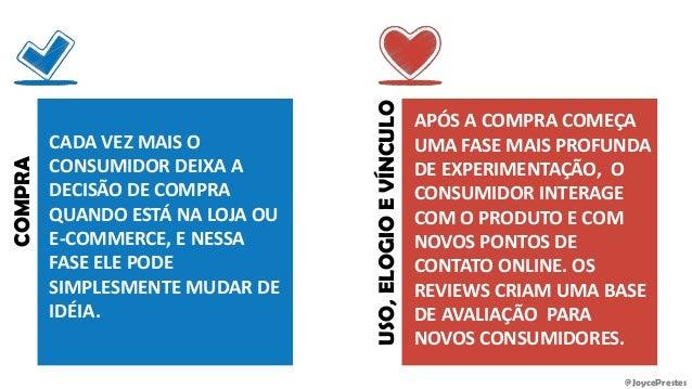 @JoycePrestes COMPRA CADA VEZ MAIS O CONSUMIDOR DEIXA A DECISÃO DE COMPRA QUANDO ESTÁ NA LOJA OU E-COMMERCE, E NESSA FASE ...