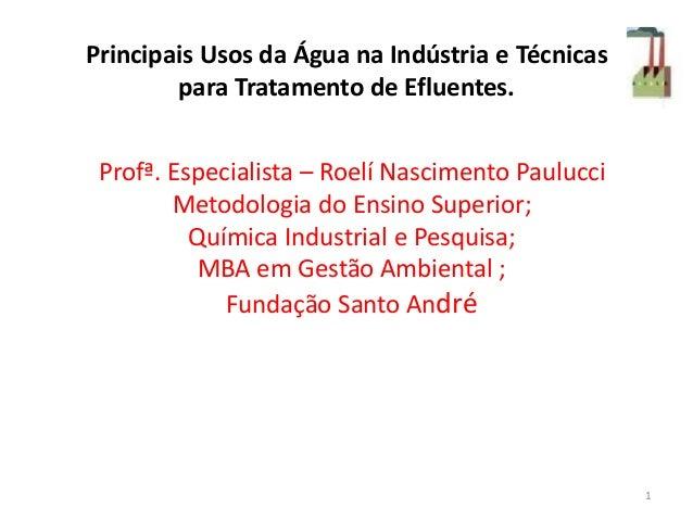 Principais Usos da Água na Indústria e Técnicas para Tratamento de Efluentes. Profª. Especialista – Roelí Nascimento Paulu...