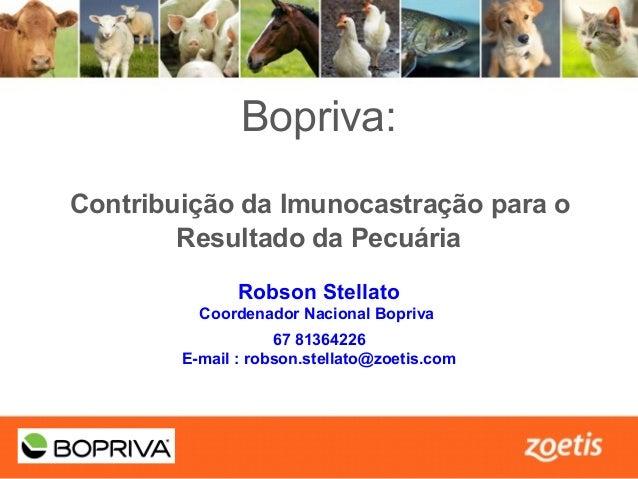1 TITLE SLIDE 3 PRESENTATION TITLE GOES HERE •Presentation subtitle (if needed) Bopriva: Contribuição da Imunocastração pa...