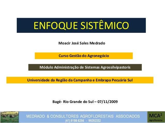 ENFOQUE SISTÊMICO Moacir José Sales Medrado Módulo Administração de Sistemas Agrossilvipastoris Bagé- Rio Grande do Sul – ...