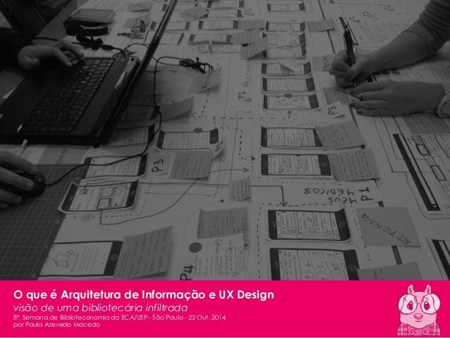 1  Paula Macedo - AI & UX | 2014  8ª Semana de Biblioteconomia  O que é Arquitetura de Informação e UX Design  visão de um...