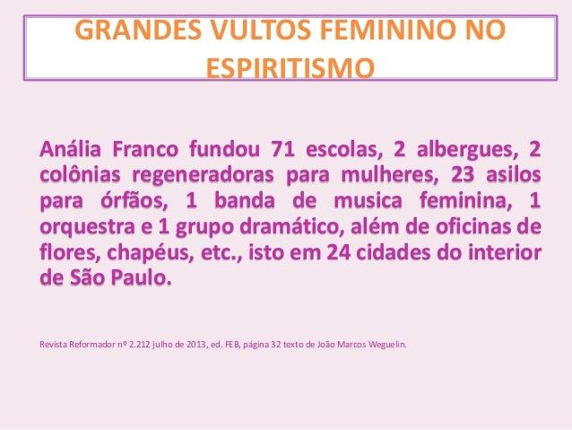 GRANDES VULTOS FEMININO NO ESPIRITISMO Anália Franco fundou 71 escolas, 2 albergues, 2 colônias regeneradoras para mulhere...