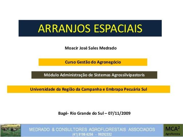 ARRANJOS ESPACIAIS Moacir José Sales Medrado Módulo Administração de Sistemas Agrossilvipastoris Bagé- Rio Grande do Sul –...