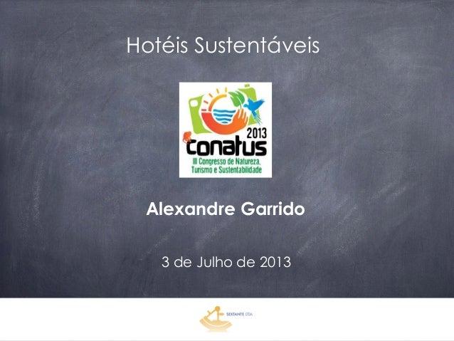 Hotéis Sustentáveis Alexandre Garrido 3 de Julho de 2013