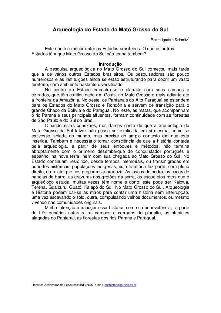 Arqueologia do Estado do Mato Grosso do Sul                                                                               ...