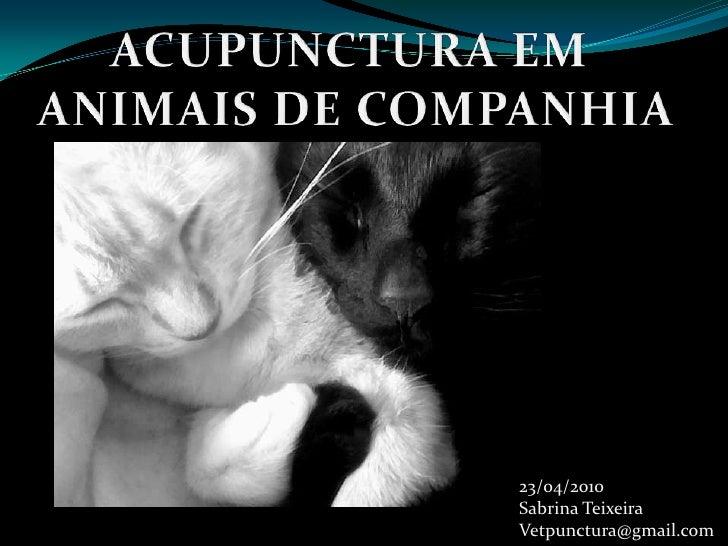 ACUPUNCTURA EM <br />ANIMAIS DE COMPANHIA<br />23/04/2010<br />Sabrina Teixeira<br />Vetpunctura@gmail.com<br />