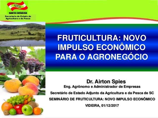 Secretaria de Estado da Agricultura e da Pesca Dr. Airton Spies Eng. Agrônomo e Administrador de Empresas Secretário de Es...