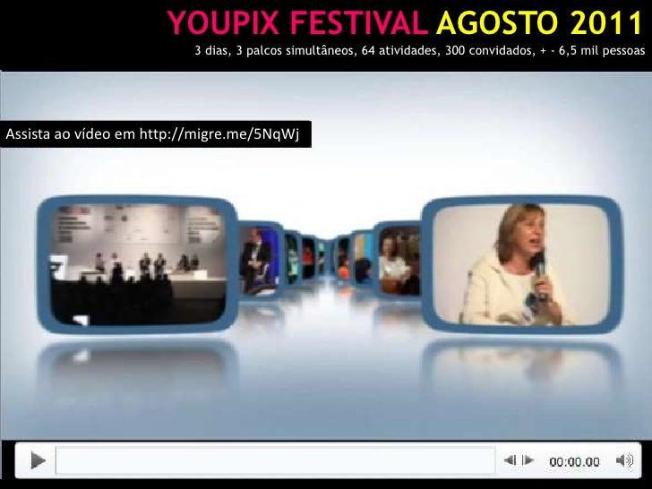 YOUPIX FESTIVAL AGOSTO 2011<br />3 dias, 3 palcos simultâneos, 64 atividades, 300 convidados, + - 6,5 mil pessoas<br />Ass...
