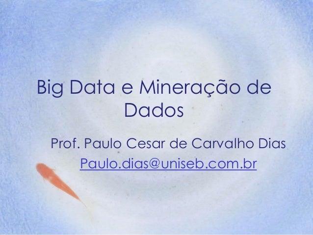 Big Data e Mineração de Dados Prof. Paulo Cesar de Carvalho Dias Paulo.dias@uniseb.com.br