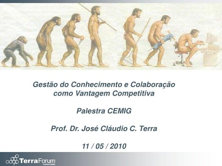 Gestão do Conhecimento e Colaboração      como Vantagem Competitiva             Palestra CEMIG      Prof. Dr. José Cláudio...