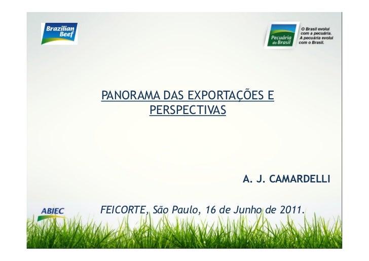 PANORAMA DAS EXPORTAÇÕES E       PERSPECTIVAS                            A. J. CAMARDELLIFEICORTE, São Paulo, 16 de Junho ...