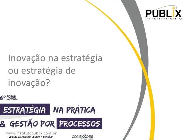 Inovação na estratégia  ou estratégia de  inovação?  www.institutopublix.com.br