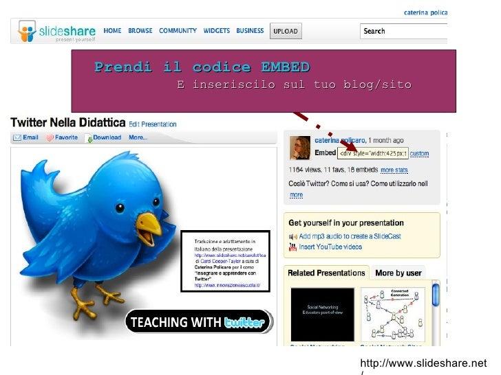 http://www.slideshare.net/ Prendi il codice EMBED E inseriscilo sul tuo blog/sito