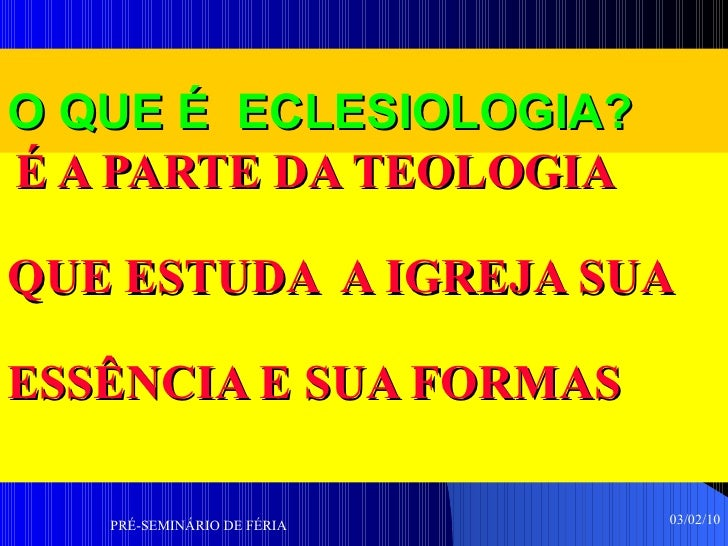 Palestra De Eclesiologia