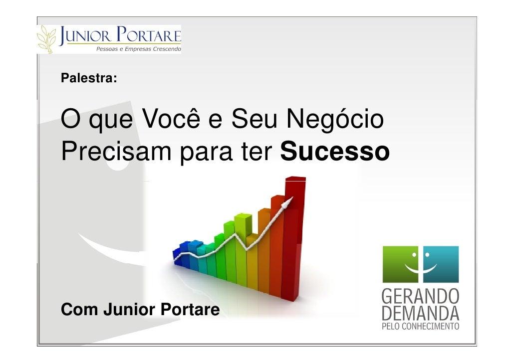 Palestra:   O que Você e Seu Negócio Precisam para ter Sucesso     Com Junior Portare