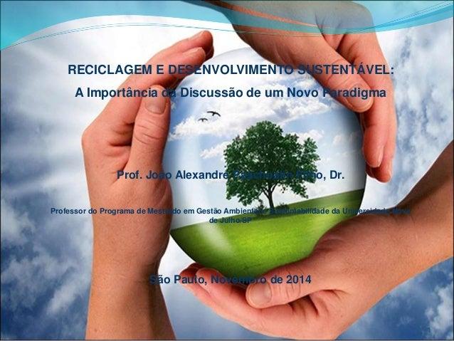 RECICLAGEM E DESENVOLVIMENTO SUSTENTÁVEL:  A Importância da Discussão de um Novo Paradigma  Prof. João Alexandre Paschoali...