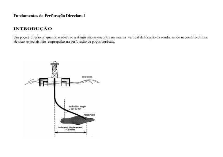 Fundamentos da Perfuração DirecionalINTRODUÇÃOUm poço é direcional quando o objetivo a atingir não se encontra na mesma ve...