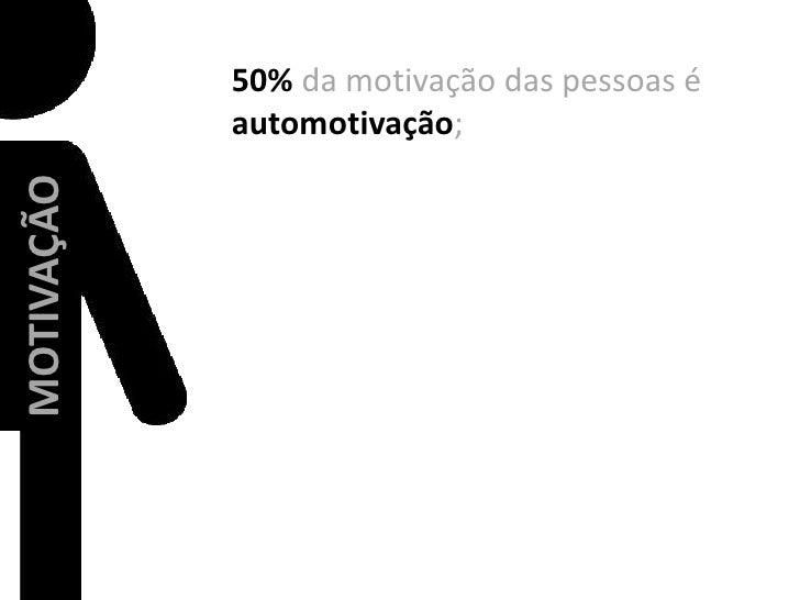50% da motivação das pessoas é automotivação;<br />MOTIVAÇÃO<br />