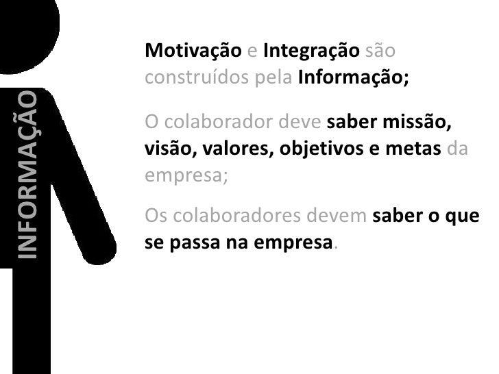 Motivaçãoe Integração são construídos pela Informação;<br />O colaborador deve saber missão, visão, valores, objetivos e m...