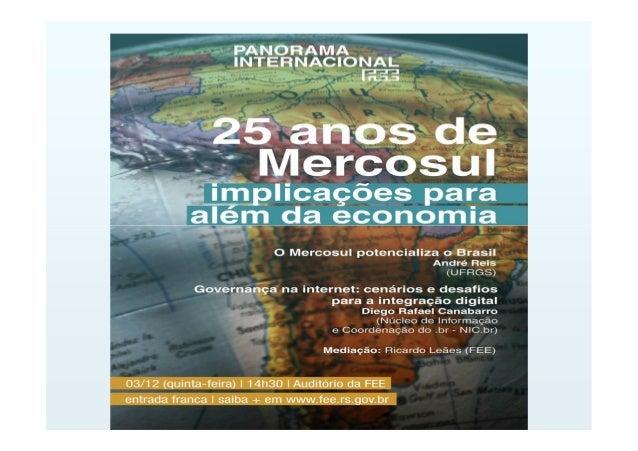 O BRASIL E O MERCOSUL Prof. Dr. André Luiz Reis da Silva (UFRGS) Dezembro 2015