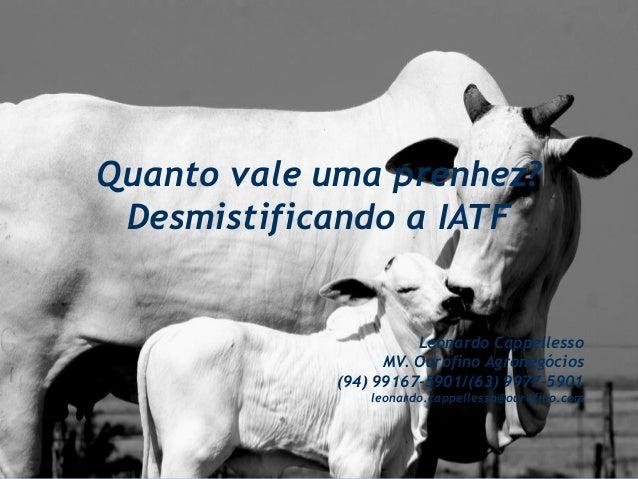 Quanto vale uma prenhez? Desmistificando a IATF Leonardo Cappellesso MV. Ourofino Agronegócios (94) 99167-5901/(63) 9977-5...