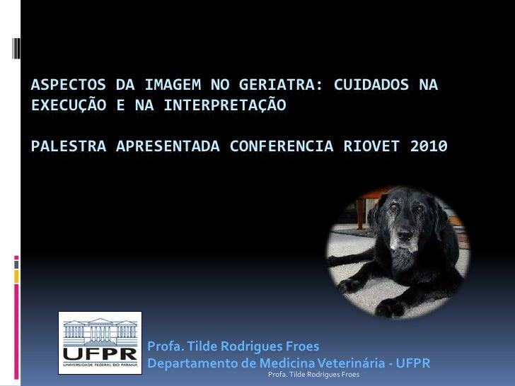 Aspectos da imagem no geriatra: Cuidados na execução e na interpretaçãoPalestra apresentada Conferencia RIOVET 2010<br />P...
