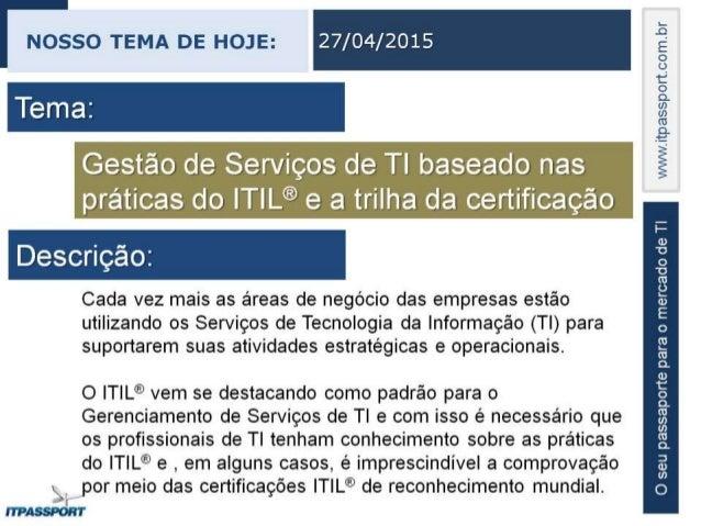 Palestra de Governança e Gestao de Serviços de TI