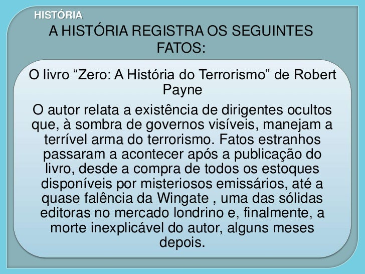 """HISTÓRIA   A HISTÓRIA REGISTRA OS SEGUINTES                FATOS:O livro """"Zero: A História do Terrorismo"""" de Robert       ..."""