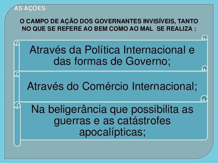 AS AÇÕES O CAMPO DE AÇÃO DOS GOVERNANTES INVISÍVEIS, TANTO NO QUE SE REFERE AO BEM COMO AO MAL SE REALIZA :   Através da P...