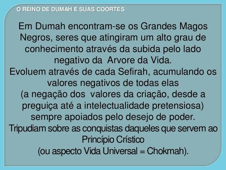 """O REINO DE DUMAH E SUAS COORTES   Como não têm condições de ultrapassar o    Abismo (Daat) por causa da """"densidade"""" negati..."""