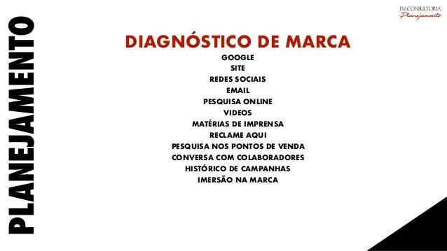 PLANEJAMENTO DIAGNÓSTICO DE MARCA GOOGLE SITE REDES SOCIAIS EMAIL PESQUISA ONLINE VIDEOS MATÉRIAS DE IMPRENSA RECLAME AQUI...