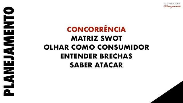 PLANEJAMENTO CONCORRÊNCIA MATRIZ SWOT OLHAR COMO CONSUMIDOR ENTENDER BRECHAS SABER ATACAR FM CONSULTORIA Planejamento