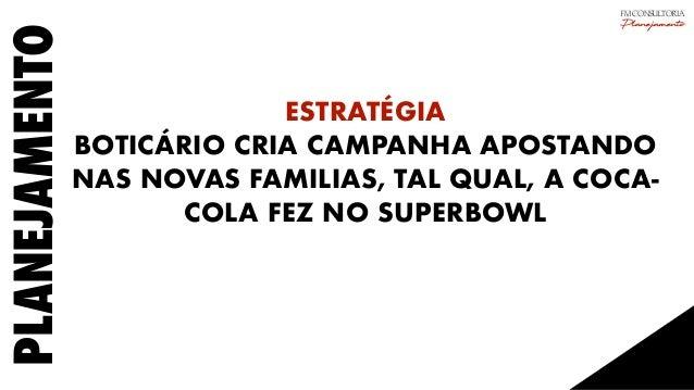 PLANEJAMENTO ESTRATÉGIA BOTICÁRIO CRIA CAMPANHA APOSTANDO NAS NOVAS FAMILIAS, TAL QUAL, A COCA- COLA FEZ NO SUPERBOWL FM C...
