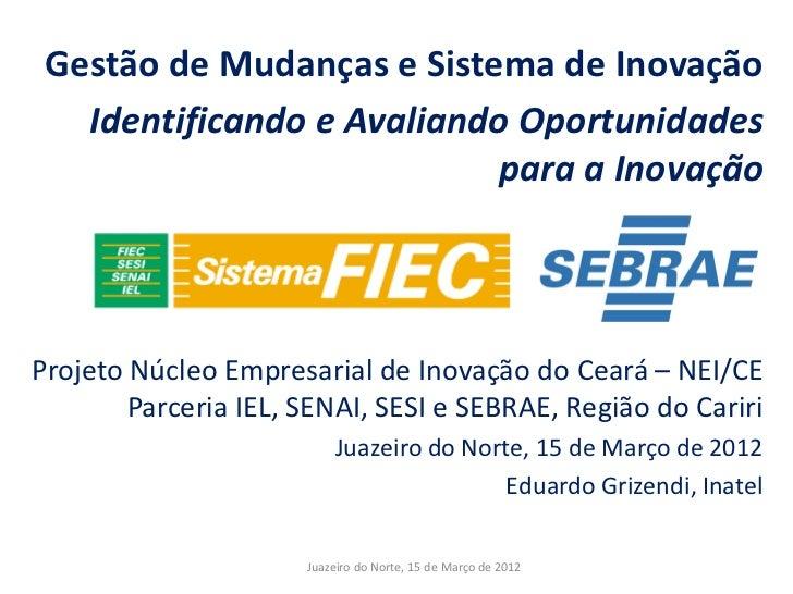 Gestão de Mudanças e Sistema de Inovação   Identificando e Avaliando Oportunidades                           para a Inovaç...