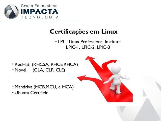 Certificações em Linux LPI – Linux Professional Institute LPIC-1, LPIC-2, LPIC-3 RedHat (RHCSA, RHCE,RHCA) Novell (CLA, CL...