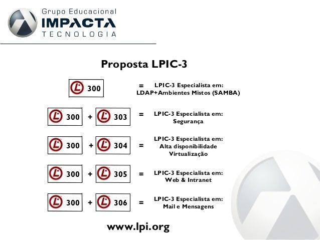 Proposta LPIC-3 301300 = LPIC-3 Especialista em: LDAP+Ambientes Mistos (SAMBA) 301 303300 + = LPIC-3 Especialista em: Segu...