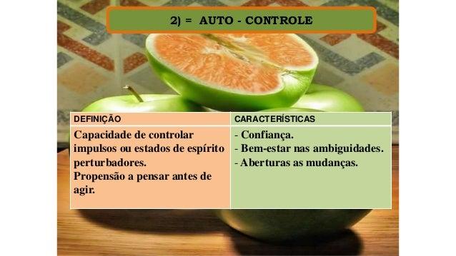 2) = AUTO - CONTROLE DEFINIÇÃO CARACTERÍSTICAS Capacidade de controlar impulsos ou estados de espírito perturbadores. Prop...