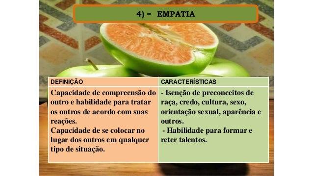 4) = EMPATIA DEFINIÇÃO CARACTERÍSTICAS Capacidade de compreensão do outro e habilidade para tratar os outros de acordo com...