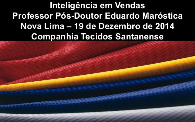 Inteligência em Vendas Professor Pós-Doutor Eduardo Maróstica Nova Lima – 19 de Dezembro de 2014 Companhia Tecidos Santane...