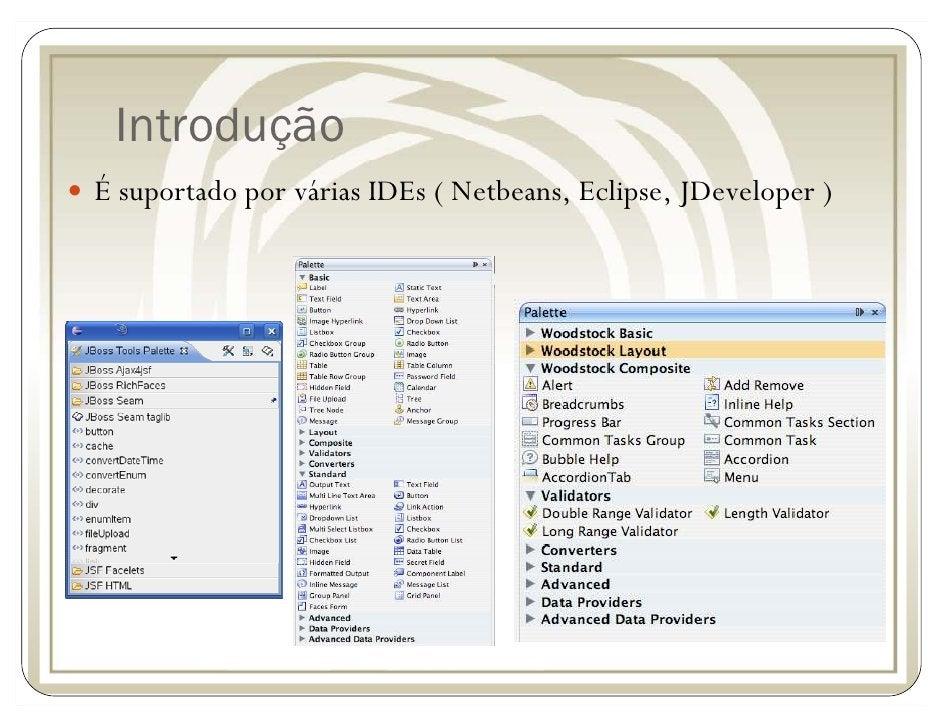 Introdução É suportado por várias IDEs ( Netbeans, Eclipse, JDeveloper )